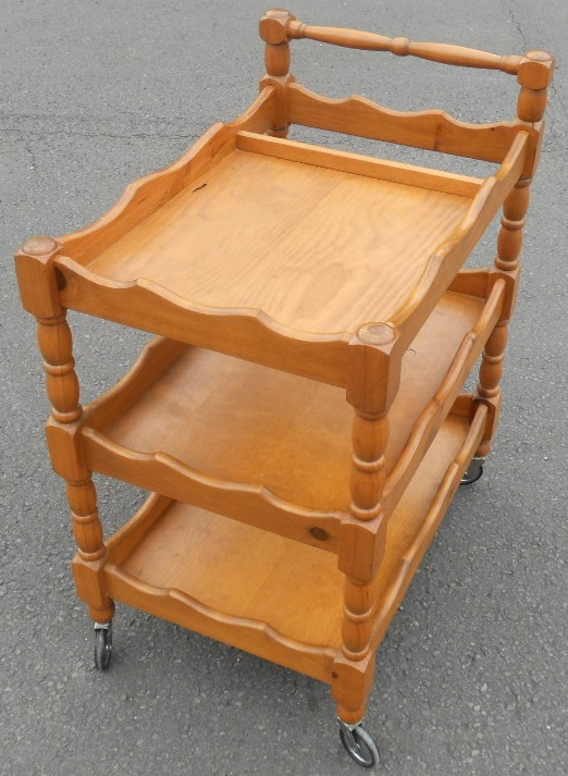 Three Tier Wooden Tea Trolley Dinner Wagon Sold